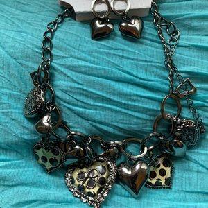 Statement Polka Dot & Heart necklace & earrings